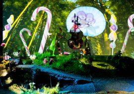 Po lewej stronie znajduje się drzewo oklejone ciastkami. Przed nim siedzą muzycy w kostiumach zwierząt. Na środku - las i stojące duże kolorowe lizaki. Po prawej stronie dwa drzewa oklejone ciastkami.
