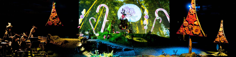 Na zdjęciu trzy kadry. Na pierwszym drzewo oklejone ciastkami. Na środkowym las i stojące duże kolorowe lizaki.Na prawym kadrze dwa drzewa oklejone ciastkami.