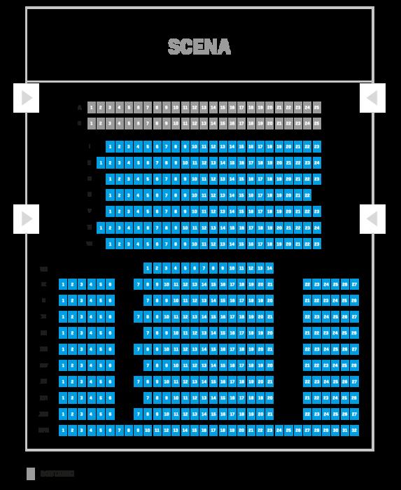 Grafika z planem widowni Sali Koncertowej w budynku przy ul. Podleśnej 2