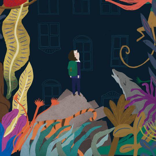 Plakat firmujący spektakl dla dzieci pt. : ''Księga Dżungli''.