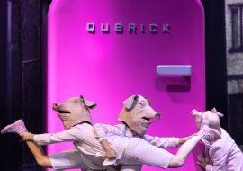 Na scenie duża, różowa lodówka z neonowym napisem: ''EAT''. Przed nią trzy osoby tańczące w różowych kostiumach, w maskach w kształcie głów świń.